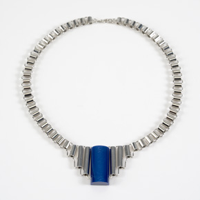 Art Déco necklace with red and blue Galalith