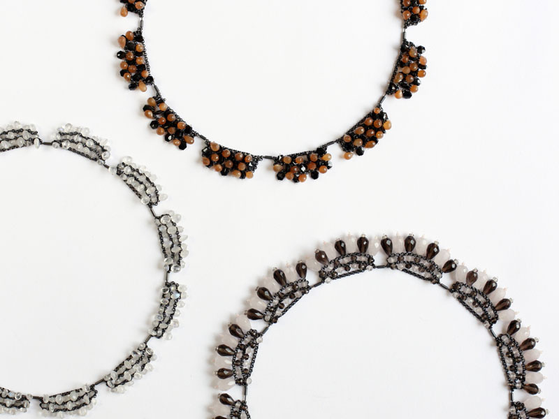 3 Ketten, Silber oxidiert, Rosenquarz, Rauchquarz, Mondstein